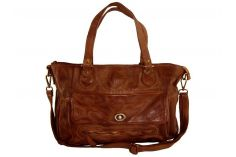 Grand sac a main cuir vintage marron Elsa
