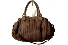 Sac polochon cuir vintage taupe Paolo