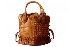 Sac shopping cuir patchwork vintage naturel Geraldine