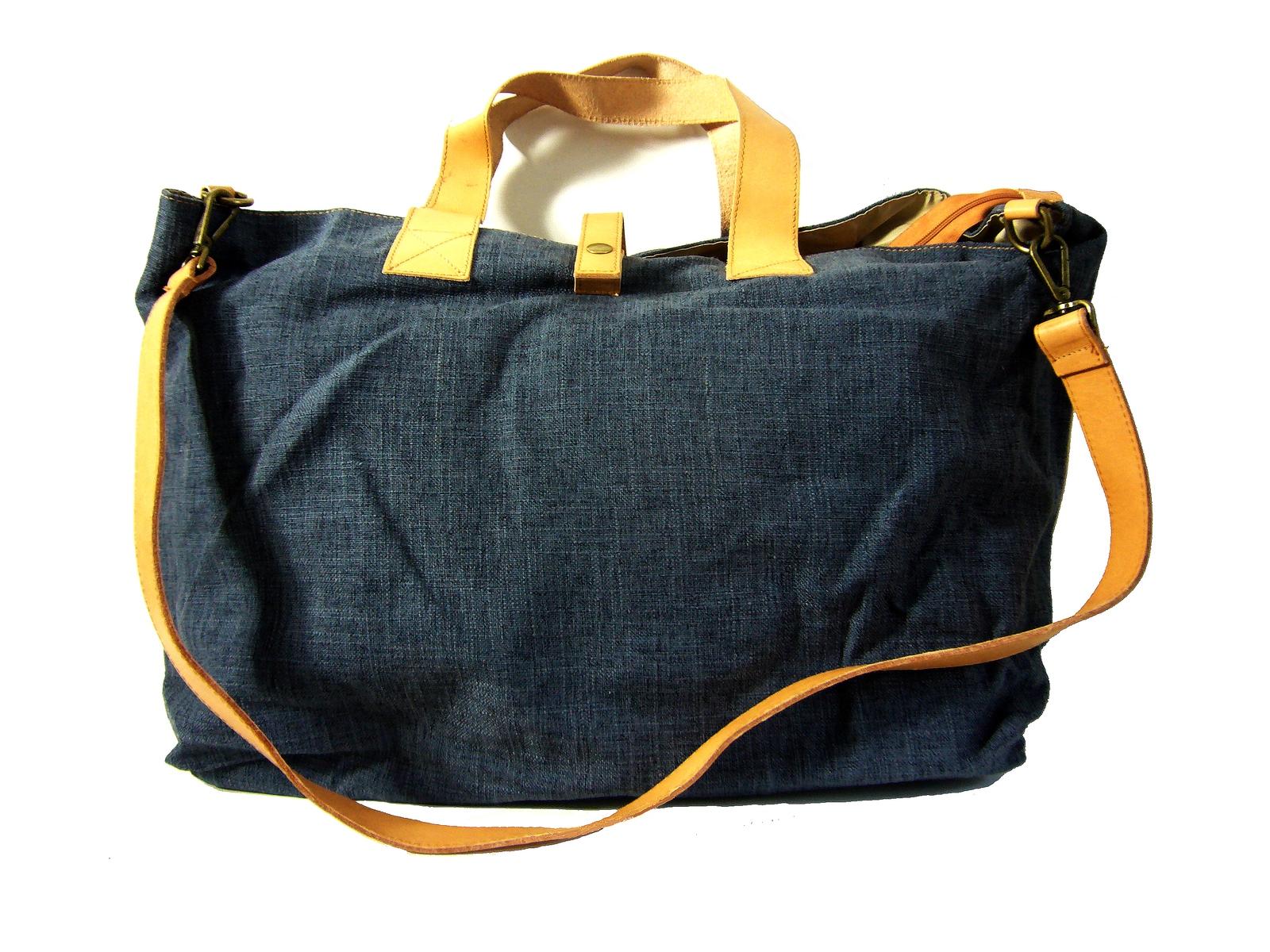 de2d3b4585 Grand cabas toile lin bleu & cuir Katia / Collection Esprit Cuir