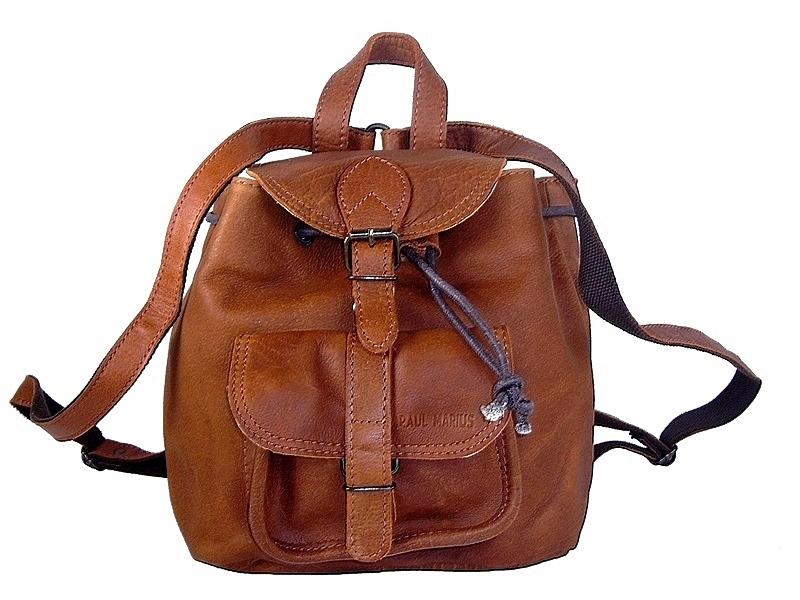 Petit sac à dos vintage cuir naturel Le Baroudeur