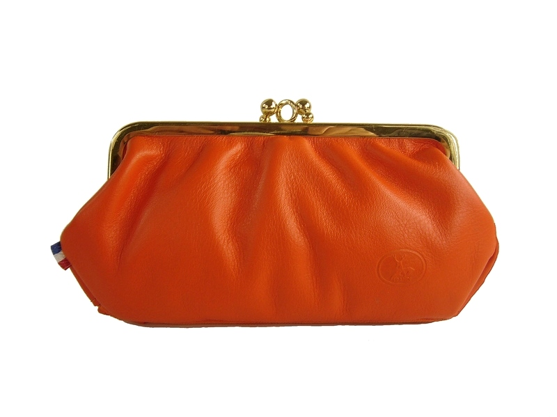 8cb129a7f642 Grand porte-monnaie femme cuir orange made in France Frandi - Espritcuir
