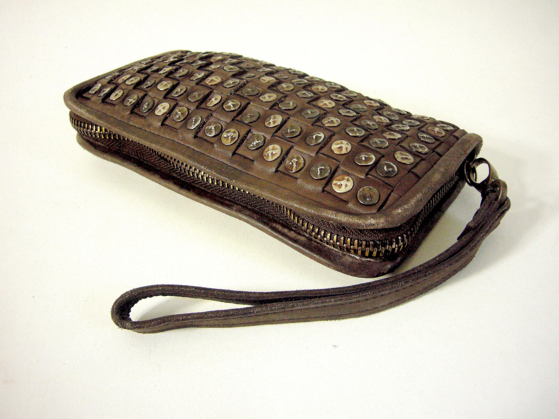 design de qualité 7df2d fcd75 Portefeuille original cuir vintage marron & clous métal Jenny