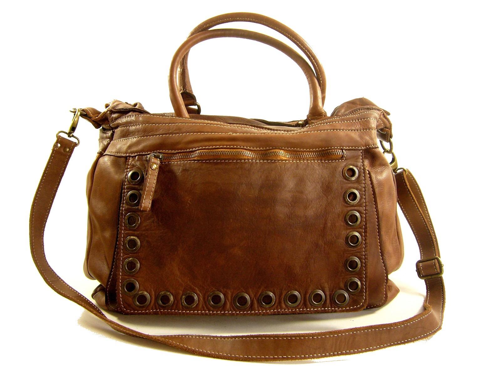 461dfd12f3 Sac épaule femme cuir vieilli naturel Riva / Collection Esprit Cuir