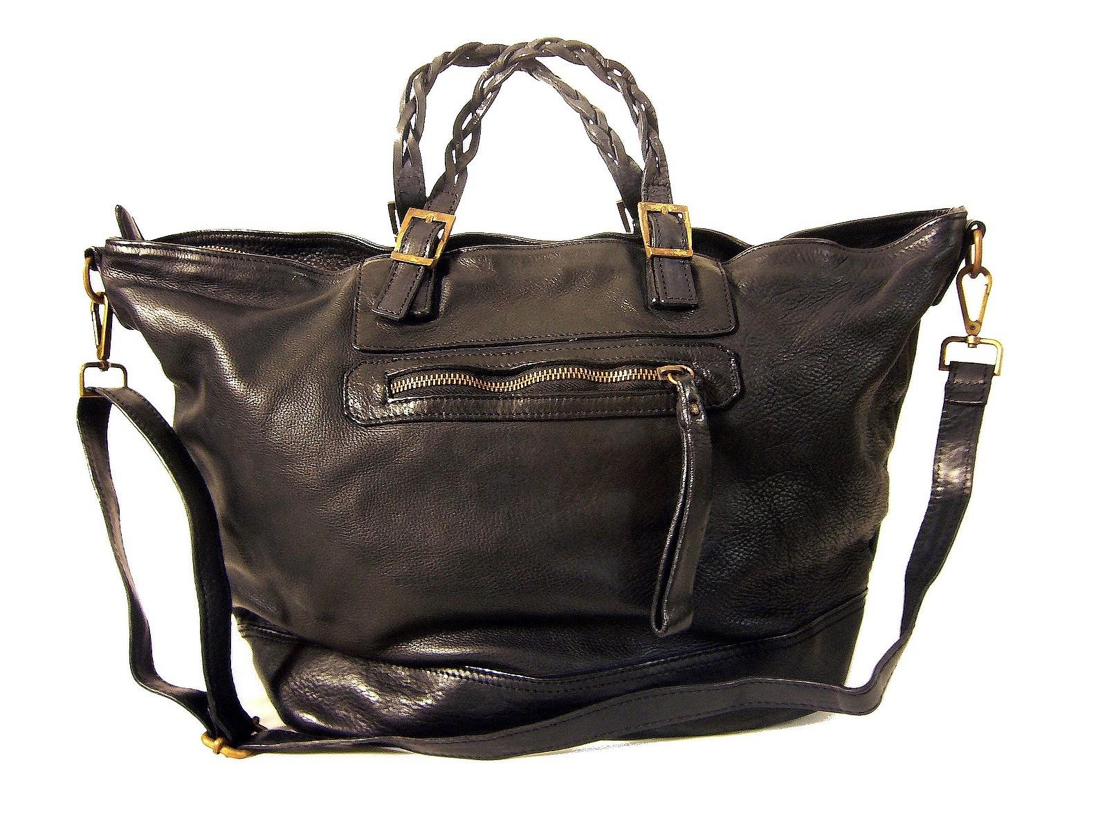 7530ea7189 Sac cabas cuir noir vintage Nadia de Collection Esprit Cuir