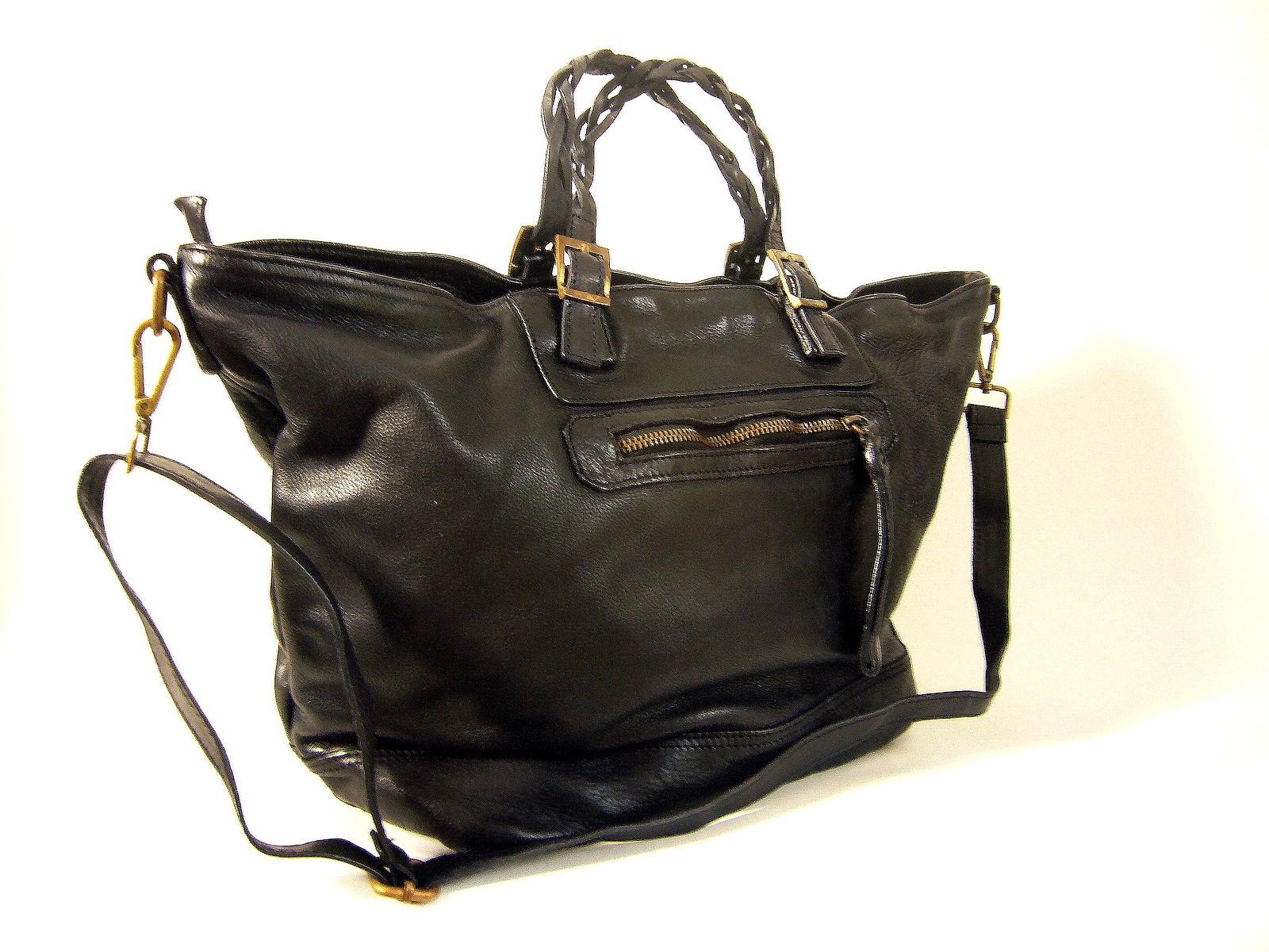 nouveau style d81ff 7c862 Sac cabas cuir italien vintage noir Nadia
