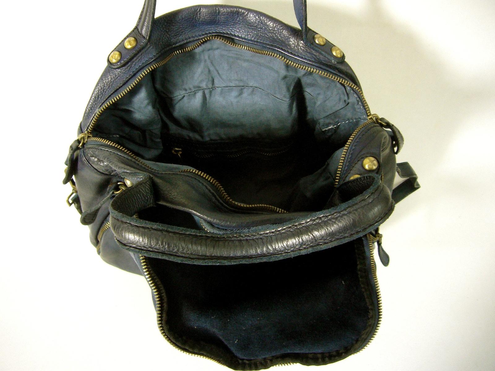 d4dbeb61be Sac a main cuir vintage bleu marine Sandra de Collection Esprit Cuir