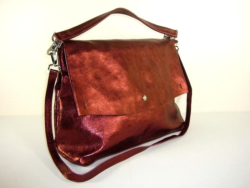 916d59d125 Sac cuir métallisé rouge pour femme Briana / Diva - Espritcuir
