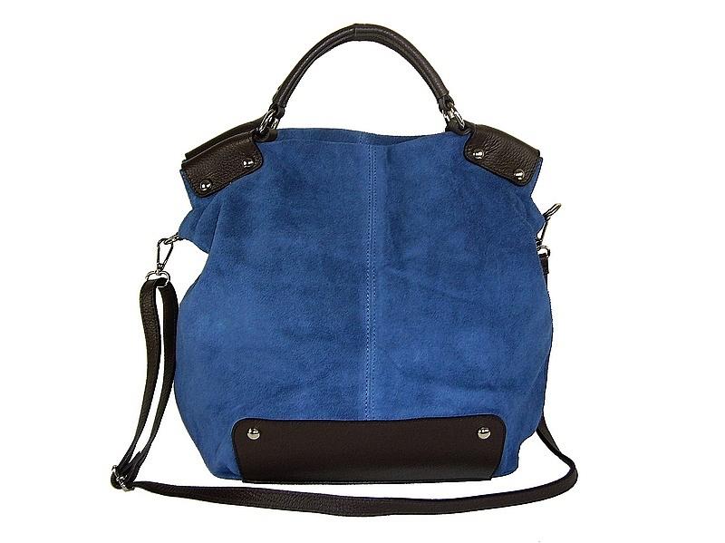d419136571 Sac à main cuir daim bleu jean & cuir rivets Dilia/Diva - ESPRITCUIR