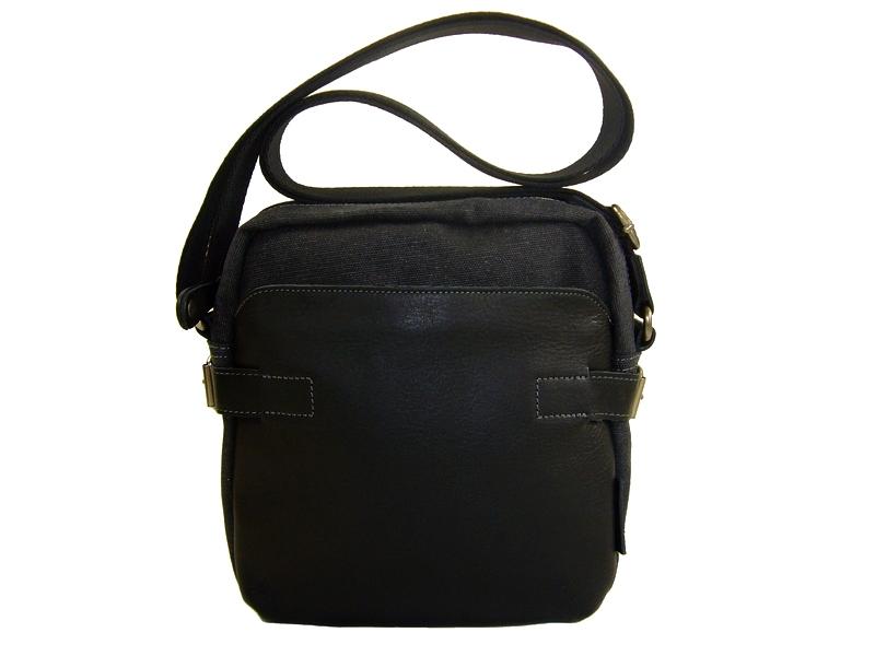 Sac pochette toile   cuir noir pour homme Hugo2 Ashtag - Espritcuir 5812cbf02ef