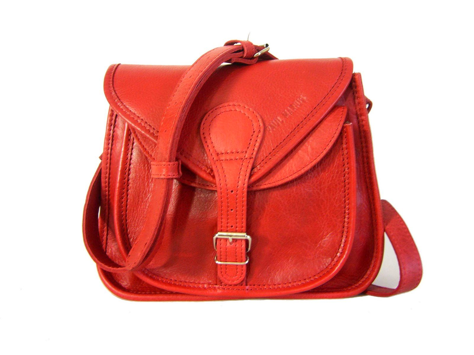 Petit sac à main bandoulière cuir rouge La Besace